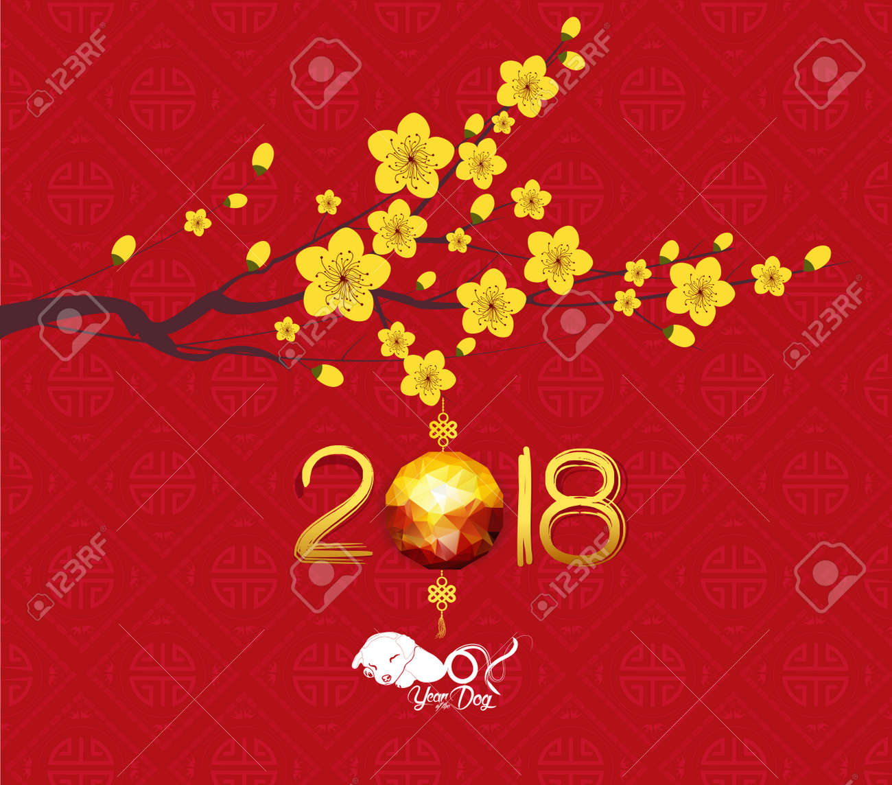 oriental chinese new year 2018 lantern background year of the dog stock vector 85033731