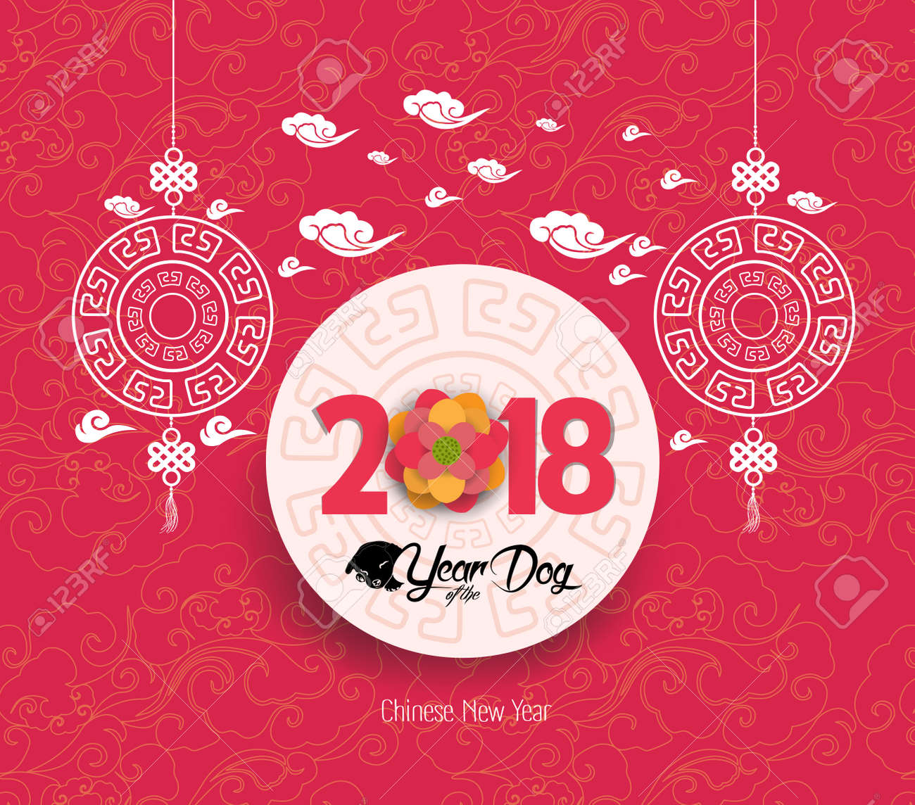 oriental chinese new year 2018 blossom background year of the dog stock vector 85033855