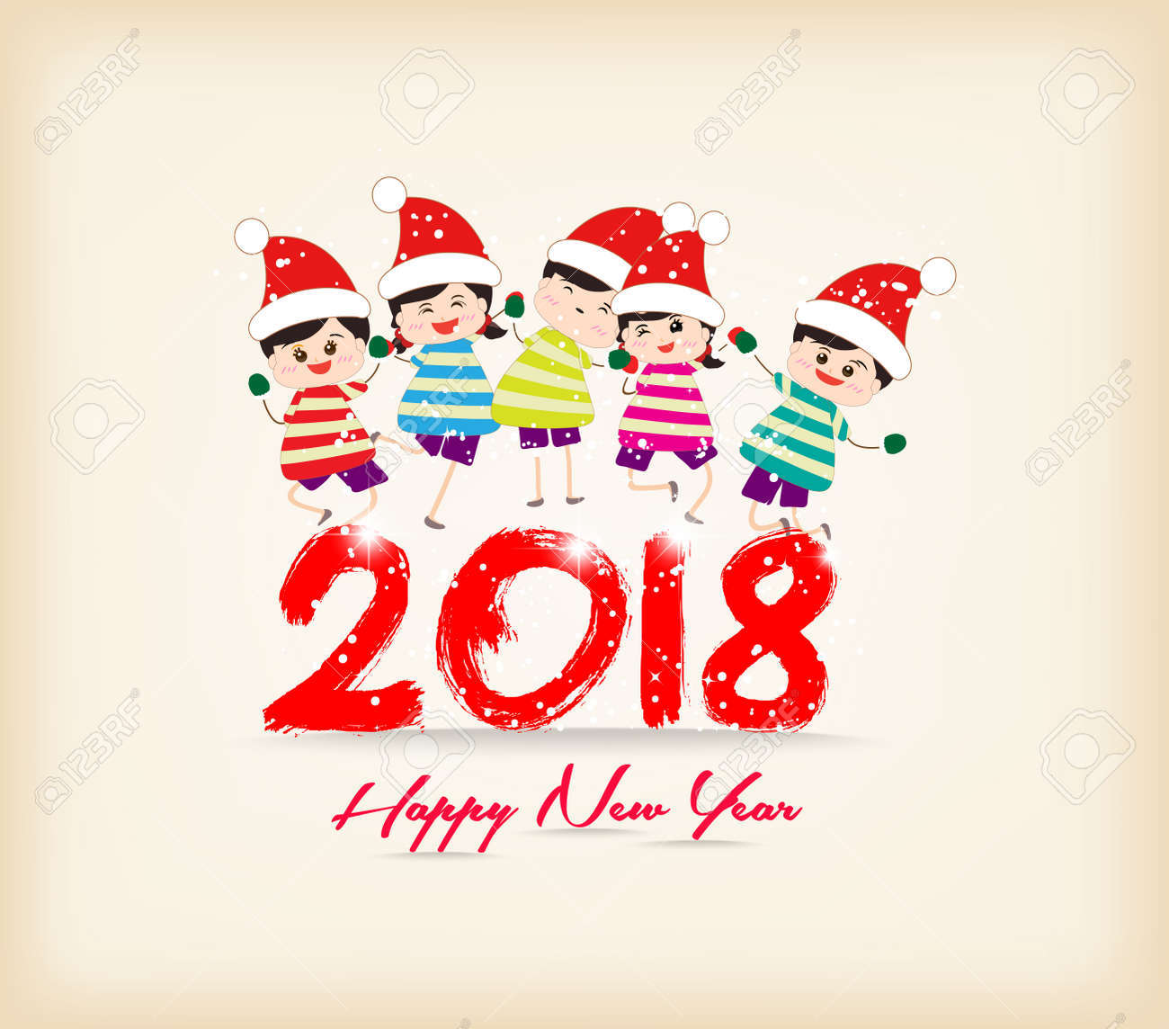 happy new year 2018 with kids funny stock vector 85358931