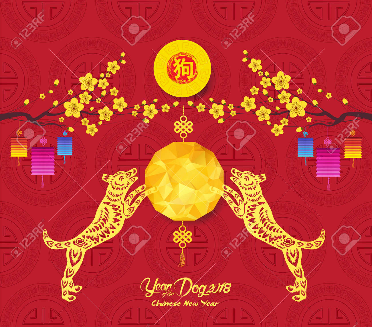 oriental chinese new year 2018 background with polygonal lantern hieroglyph dog stock vector