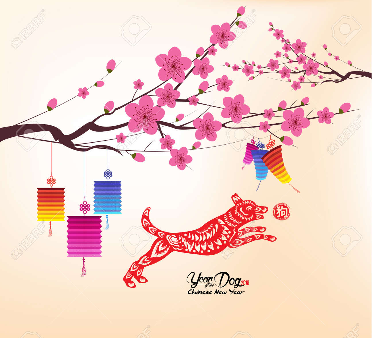 Chinese New Year 2018 Background With Lantern And Plum Blossom Hieroglyph Dog