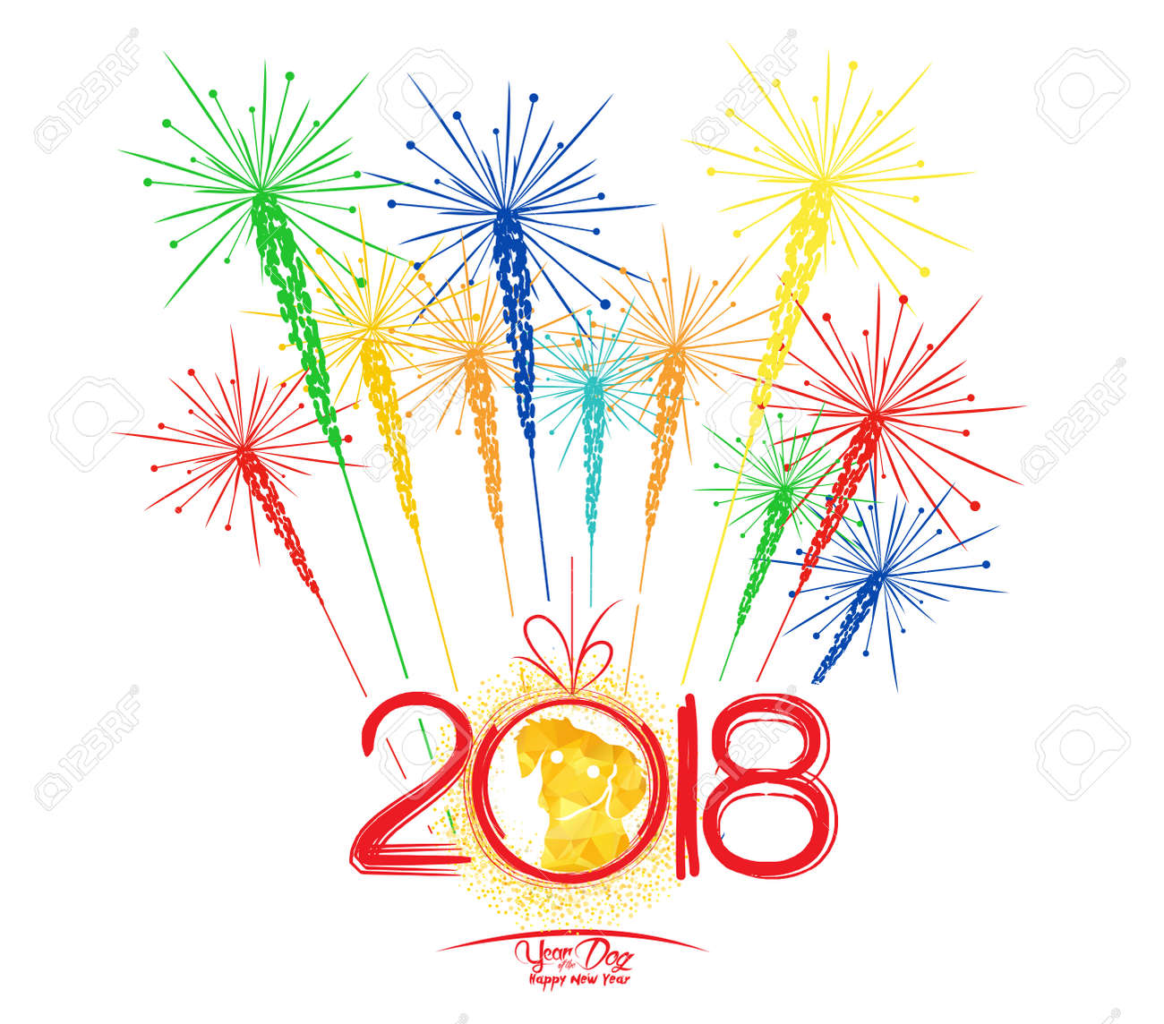 happy new year fireworks 2018 holiday background design year of the dog stock vector