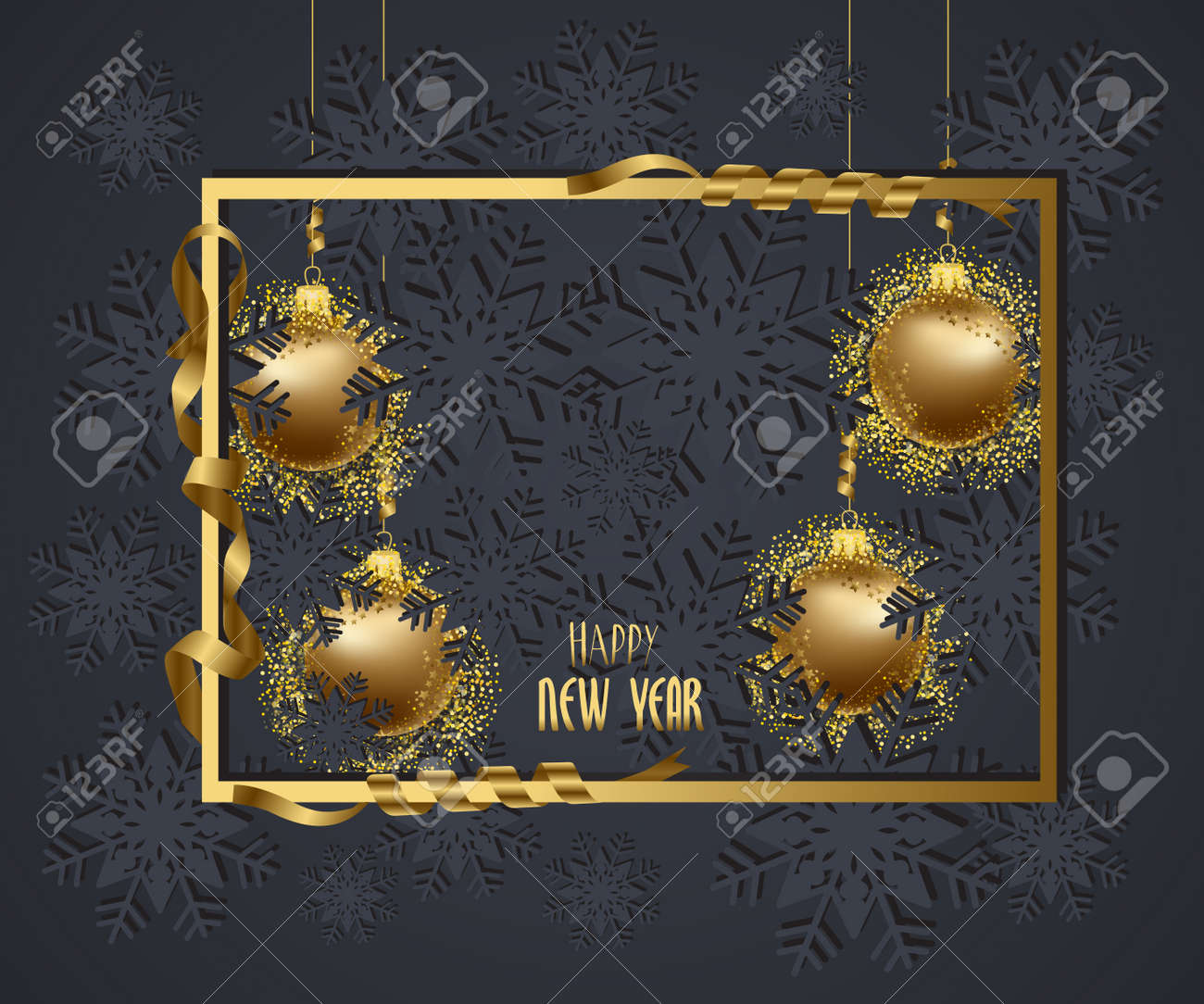 merry christmas and happy new year 2018 wallpaper gold balls stock photo 87050581