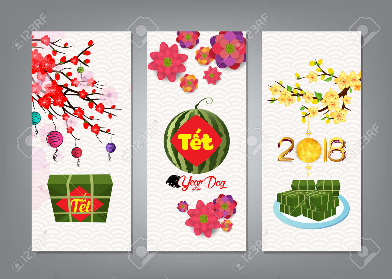 cooked square glutinous rice cake and blossom banner vietnamese new year translation