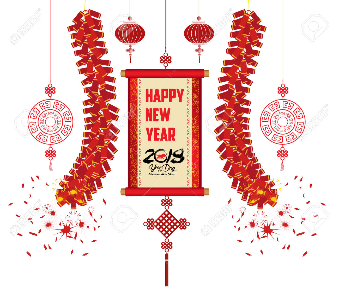 2018 chinese new year greeting card with scroll banner on a white background stock vector