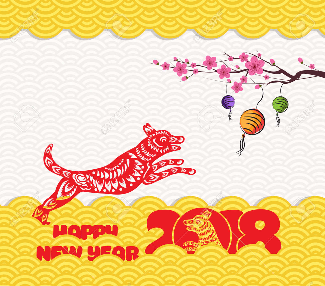 2018 Chinese New Year Greeting Card With Traditionlal Pattern ...