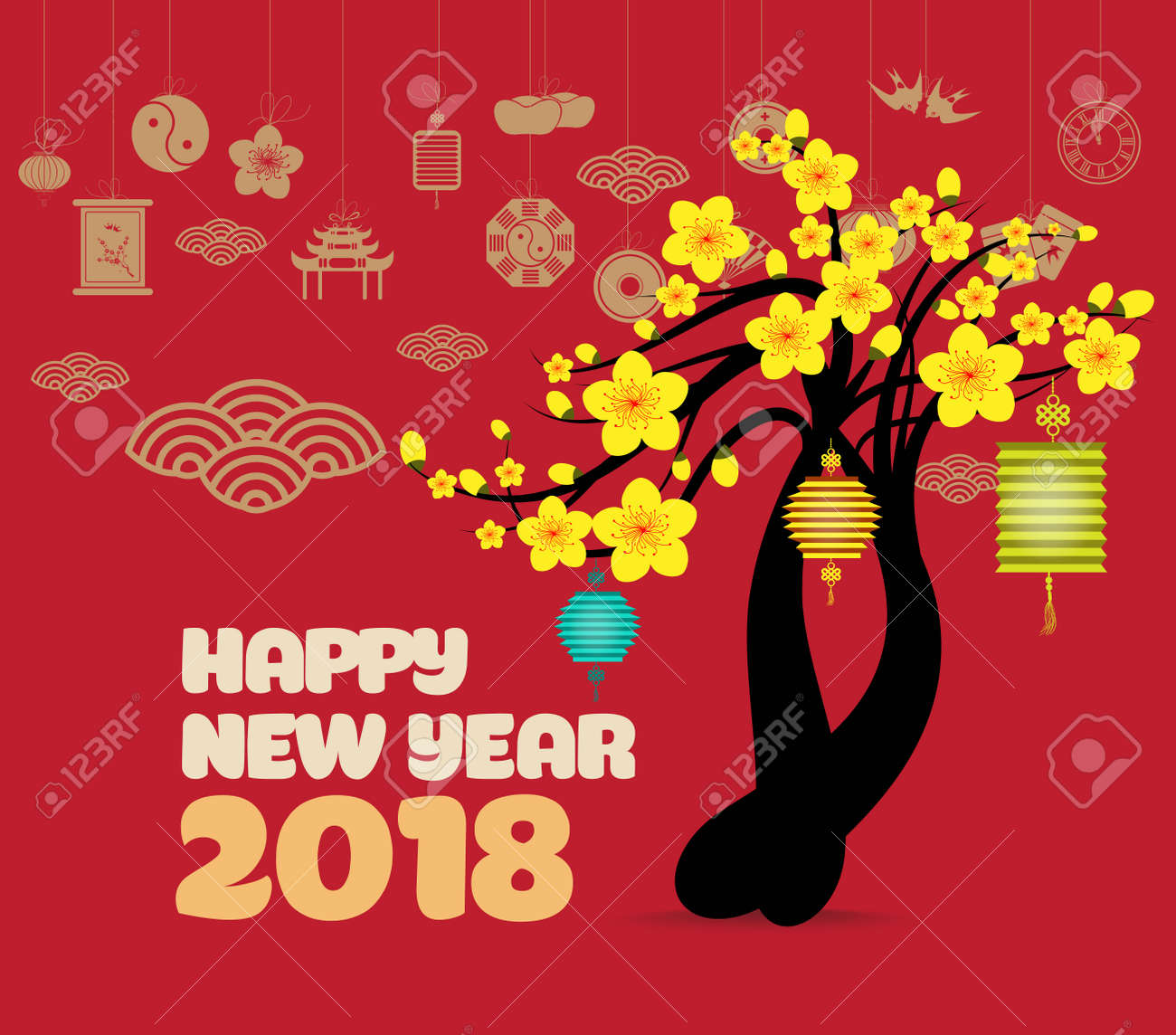 oriental happy chinese new year 2018 blossom chinese baclground stock vector 87351768