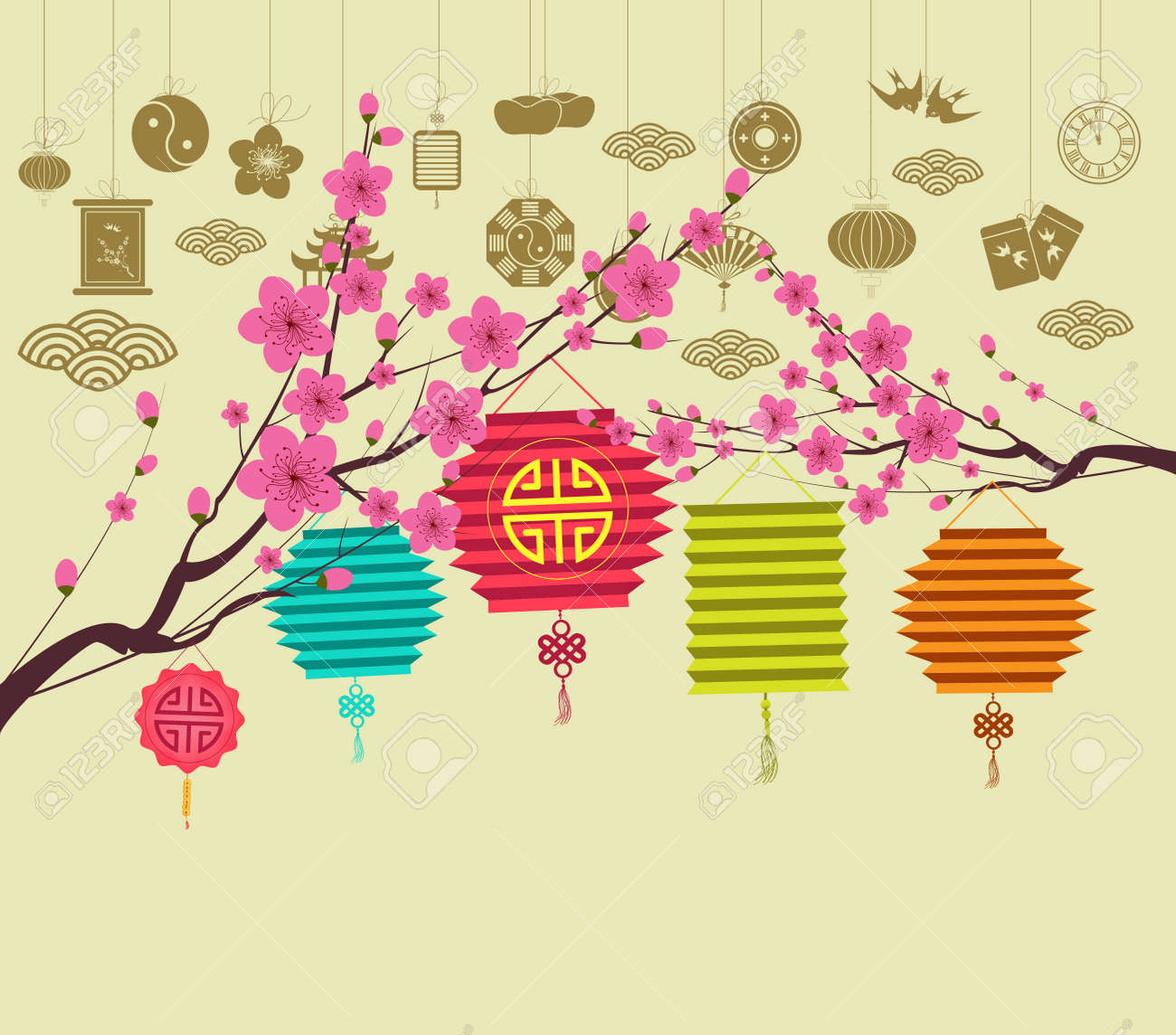 oriental happy chinese new year 2018 blossom stock vector 87351770