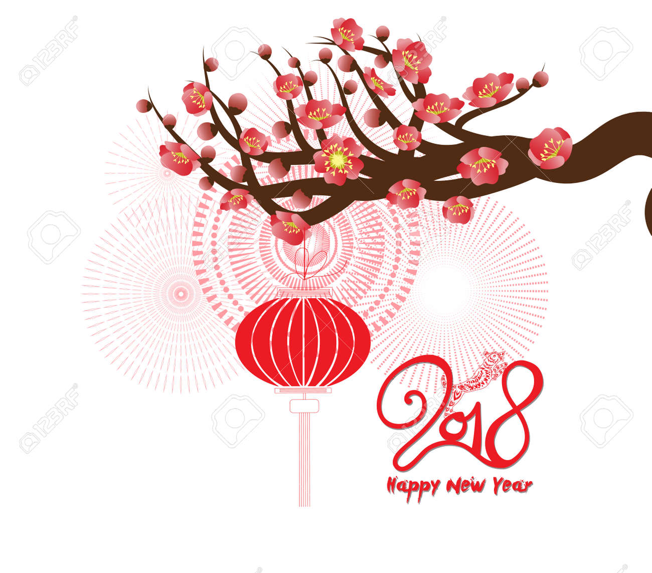 happy new year 2018 greeting card and chinese new year of the dog with cherry blossom