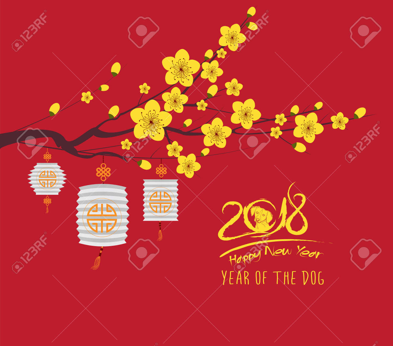 Happy new year 2018 greeting card and chinese new year of the happy new year 2018 greeting card and chinese new year of the dog cherry blossom kristyandbryce Choice Image