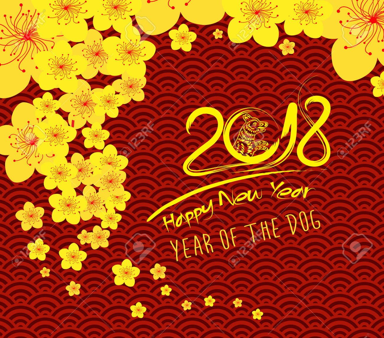 chinese new year 2018 template pattern stock vector 88773748