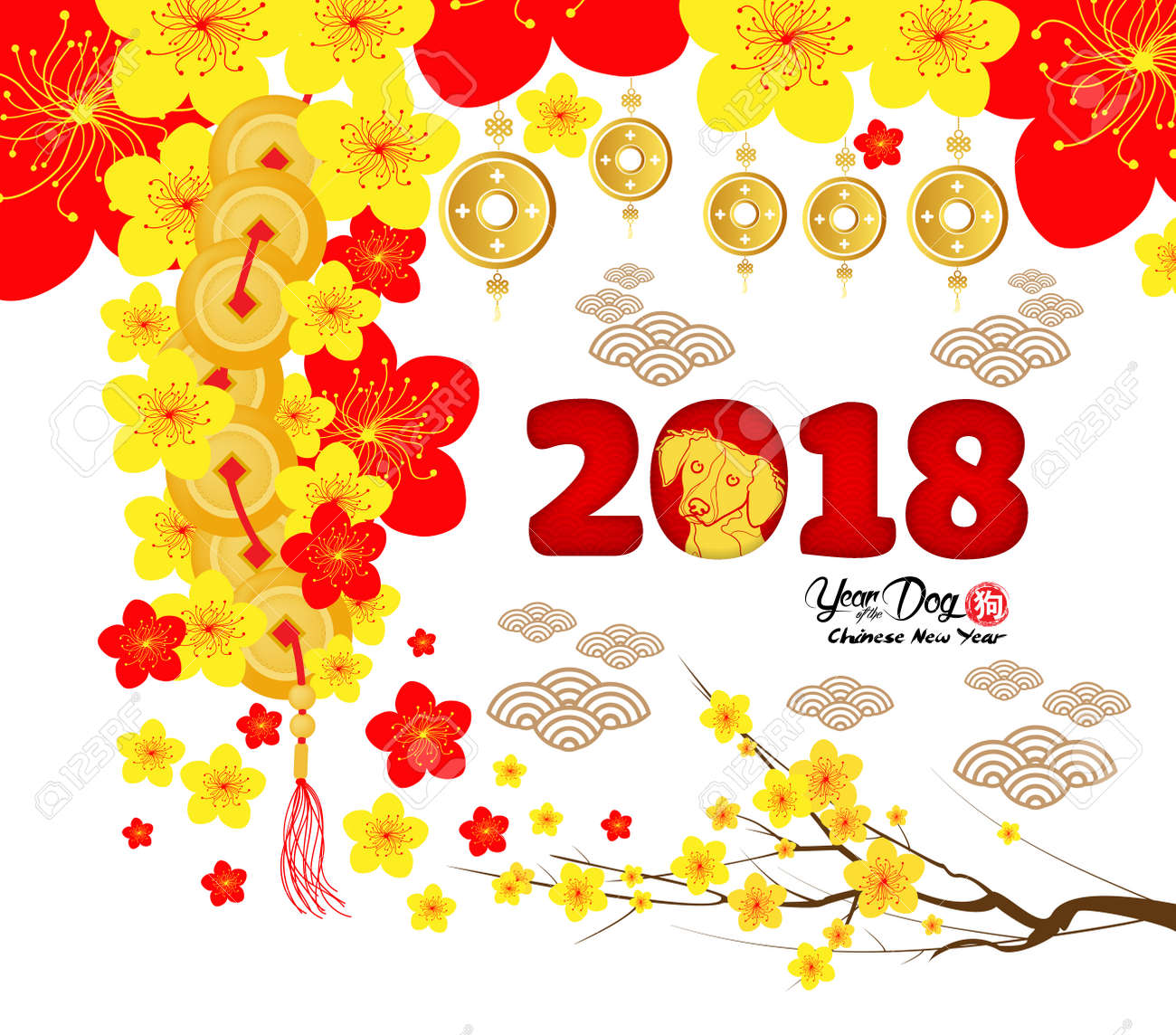 2018 Chinese New Year Greeting Card Paper Cut With Yellow Dog