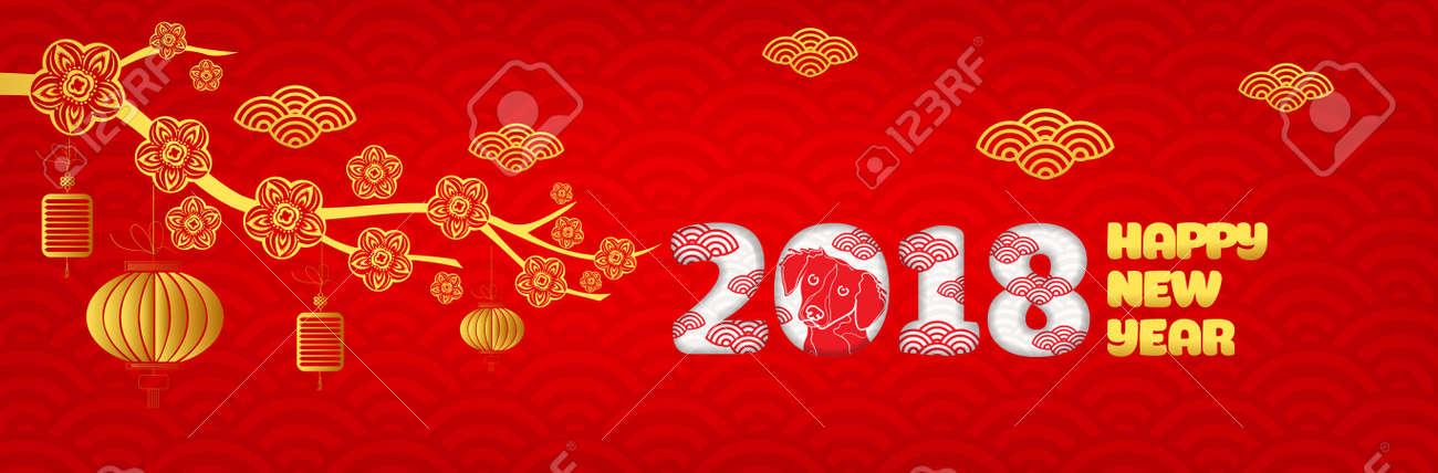 happy new year 2018 chinese new year greetings card year of