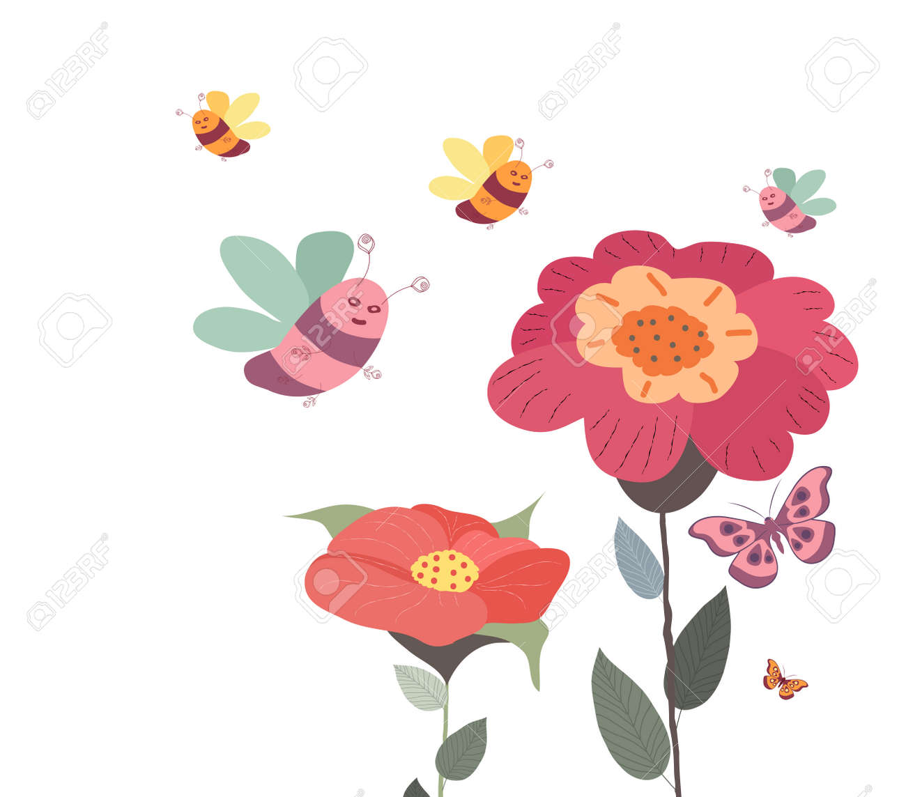 Springs flowers and floral background with butterflies and bees springs flowers and floral background with butterflies and bees vector illustration stock vector 96279585 mightylinksfo