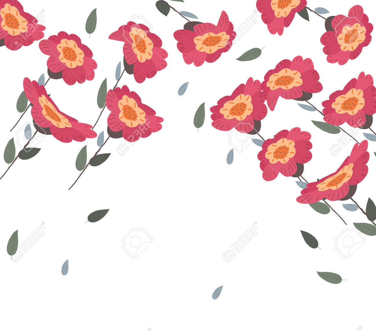 Springs flowers and floral background on white vector illustration springs flowers and floral background on white vector illustration stock vector 96279586 mightylinksfo