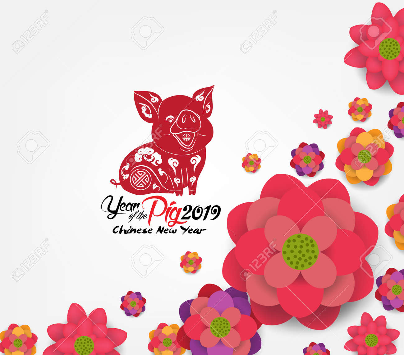 Chinese New Year 2019 Plum Blossom Background Year Of The