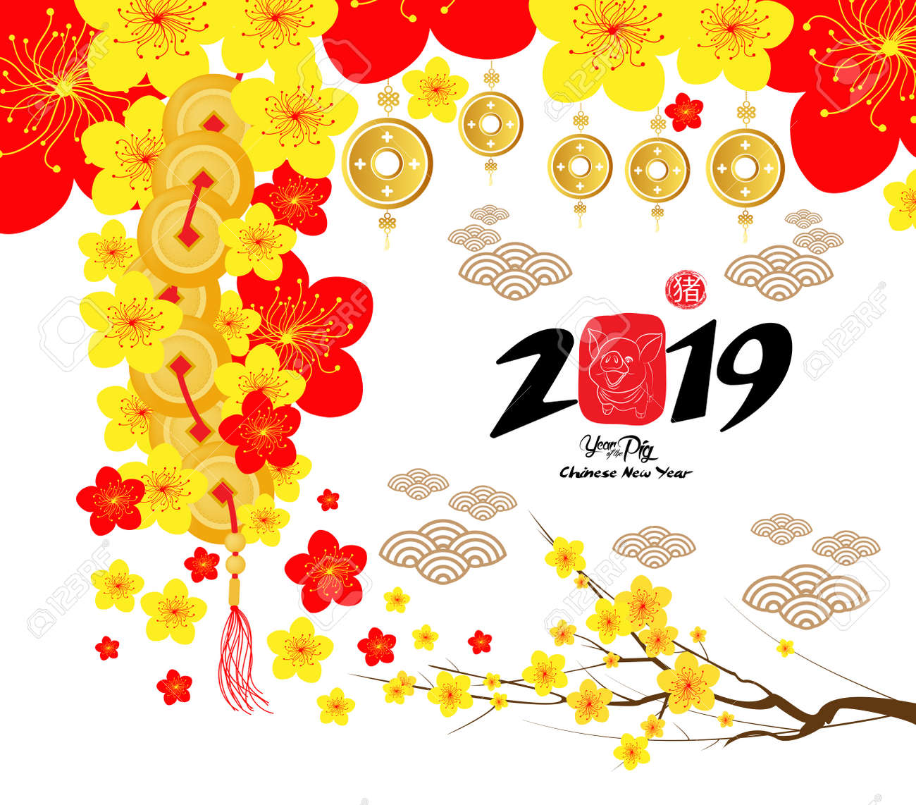 2019 Chinese New Year Greeting Card, Paper Cut With Yellow Pig ...