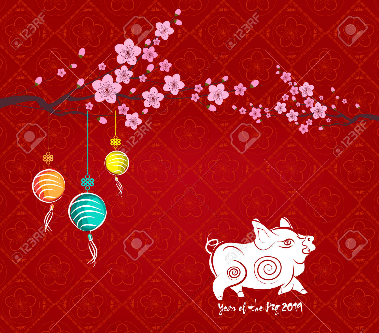 Chinese New Year 2019 Background With Lantern And Plum Blossom