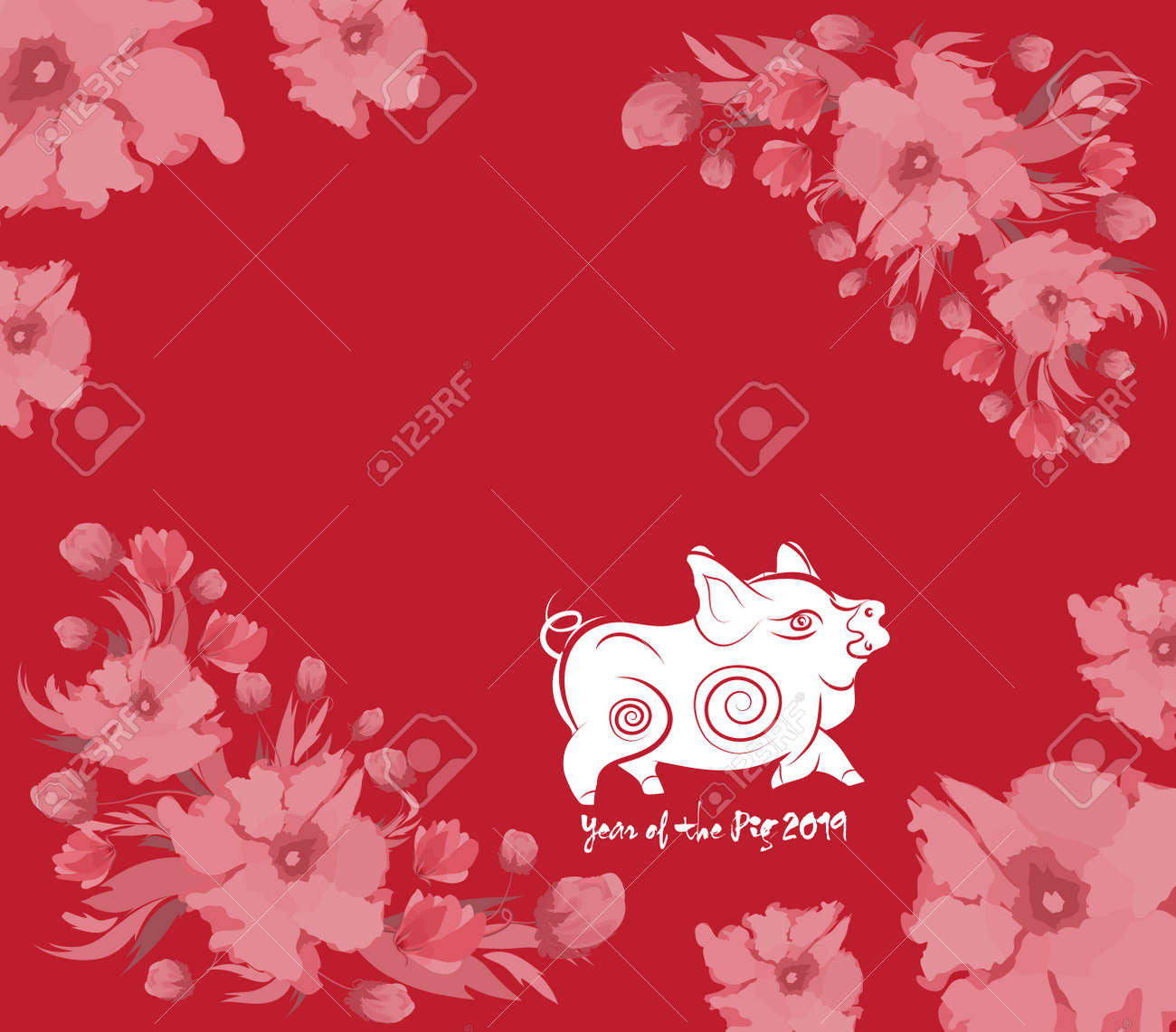 Oriental Happy Chinese New Year 2019 With Cake And Blossom Year Royalty Free Cliparts Vectors And Stock Illustration Image 102652783