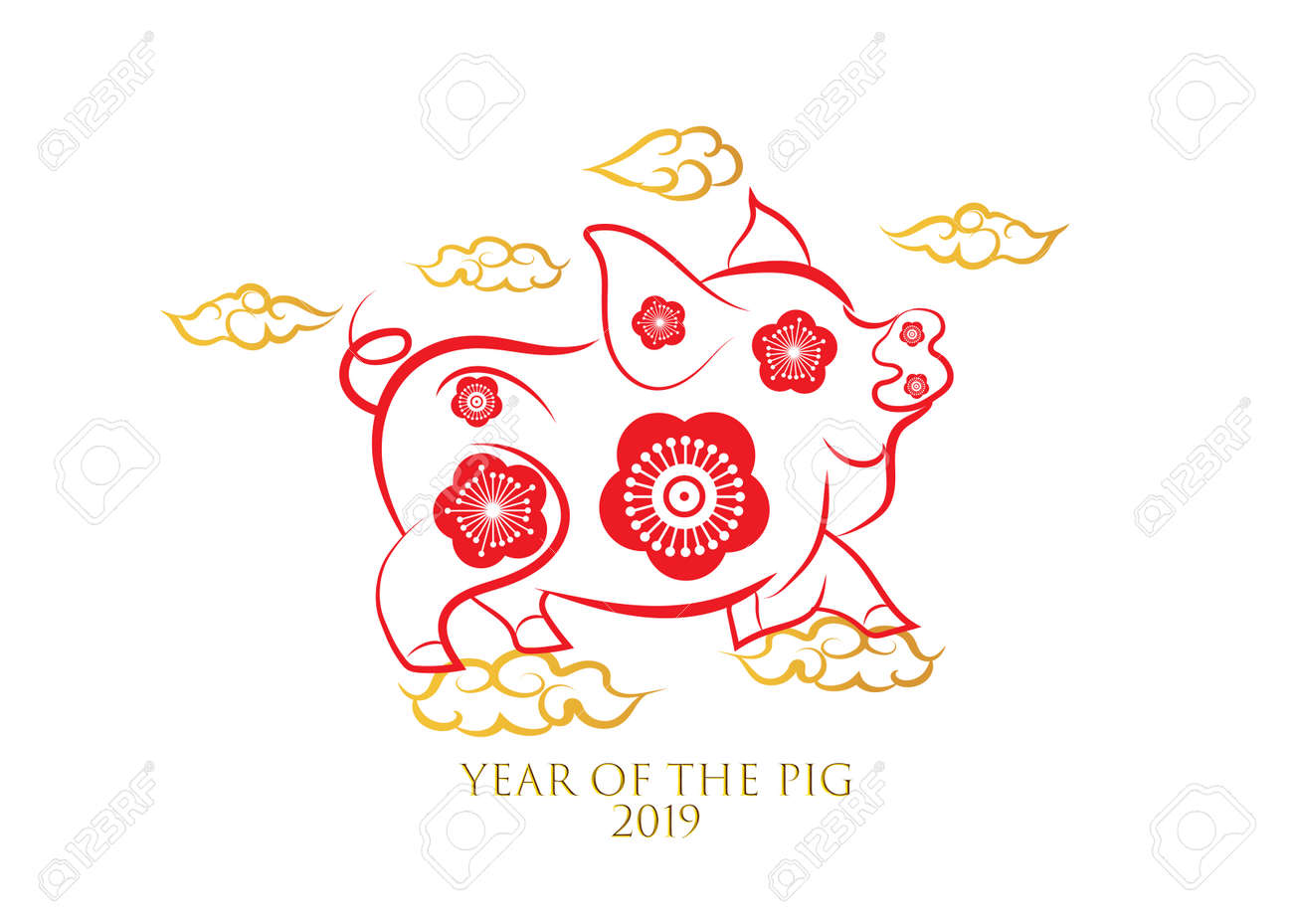 chinese new year greeting card 2019 year of pig in chinese calendar stock vector