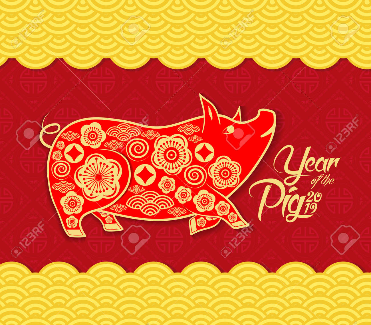Chinese new year pattern background year of the pig stock vector 103295430