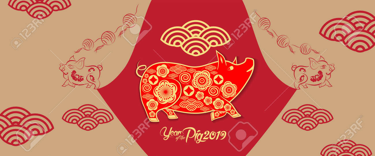 Happy new year 2019 chinese new year greetings year of the happy new year 2019 chinese new year greetings year of the pig stock vector m4hsunfo