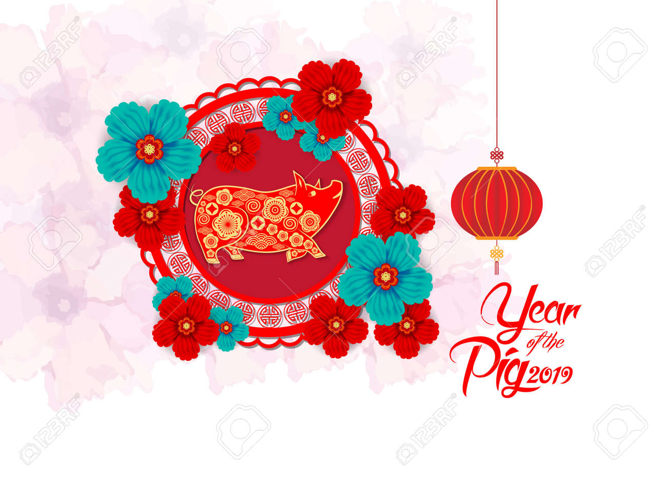 Happy Chinese New Year 2019 Year Of The Pig Paper Cut Style