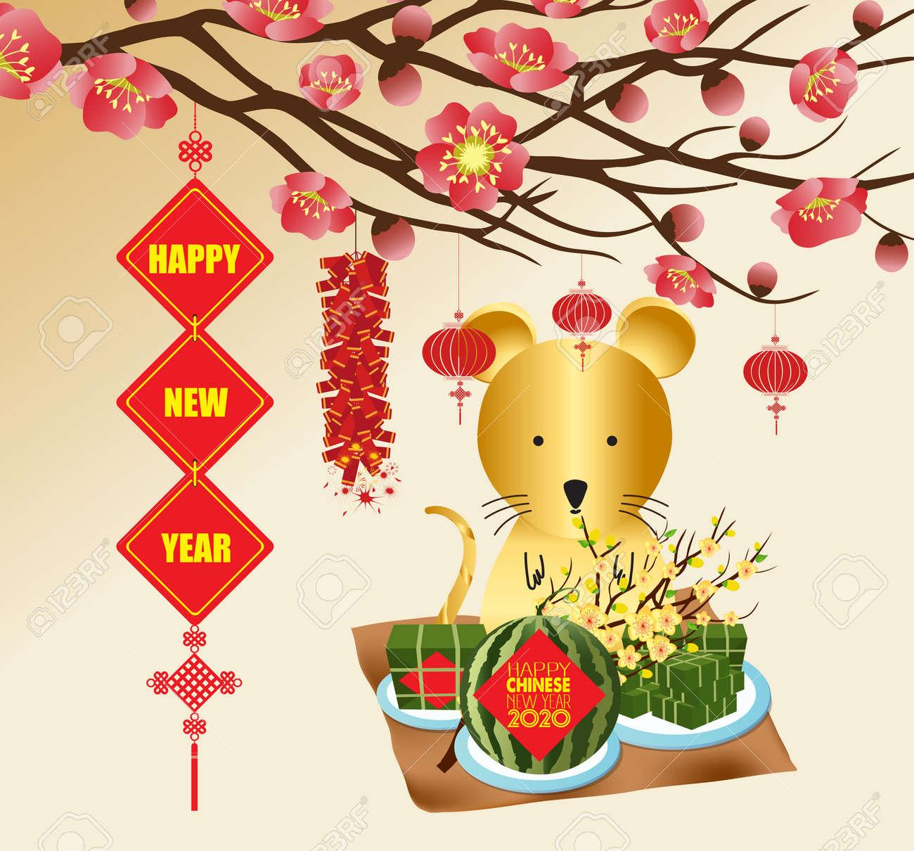 Vietnamese New Year 2020.Chinese New Year Rat 2020 Background Blooming Sakura Branches
