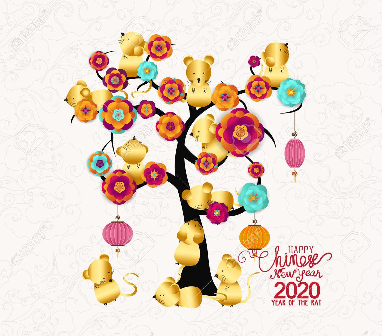 Chinese New Year 2020 Zodiac.Happy New Year 2020 Zodiac Rat Lunar New Year Tree With Blossom
