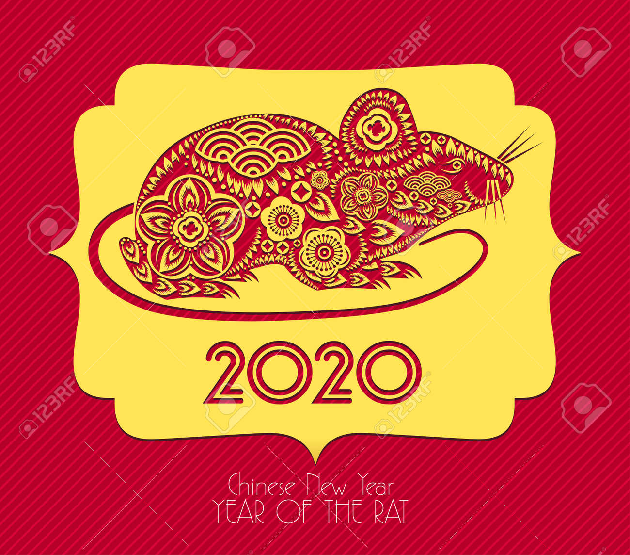 Asian New Year 2020.Happy Chinese New Year 2020 Year Of The Rat Lunar New Year