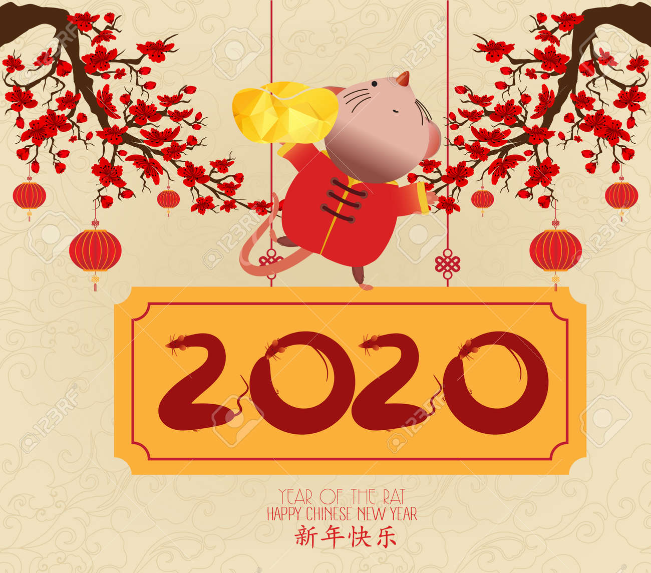 Chinese New Year 2020 Year Of The.Chinese New Year 2020 Year Of The Rat Red And Gold Paper Cut