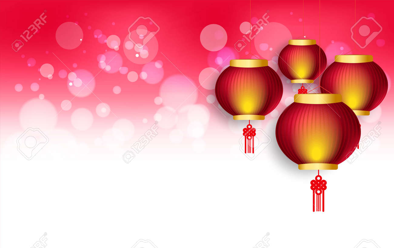 Chinese Moon Festival 2020.Happy Chinese New Year 2020 Background With Lanterns And Light