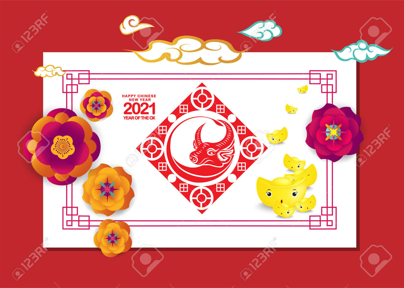 Set of Happy Chinese New Year 2021 vertical banners for social media stories wallpaper. Symbol 2021 Eastern New Year - 159633653