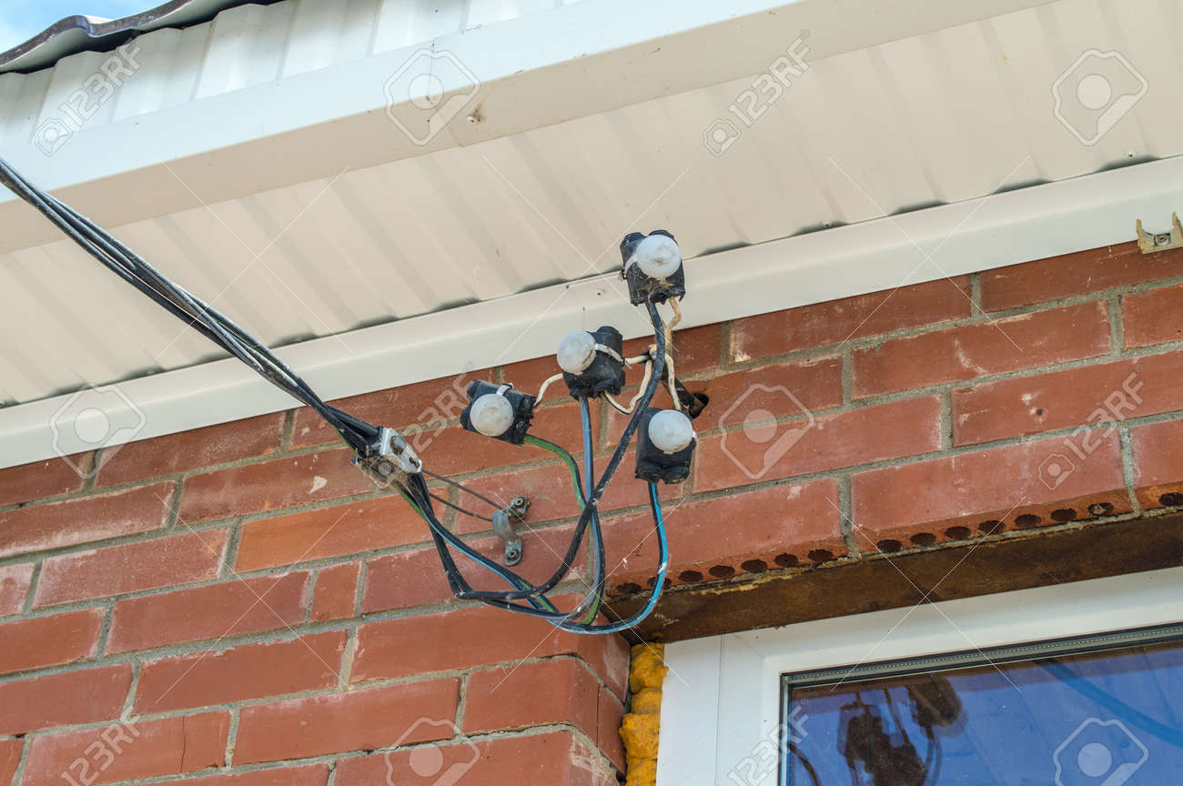 Superb Input Of Electric Wires On A Brick Wall Stock Photo Picture And Wiring 101 Akebretraxxcnl