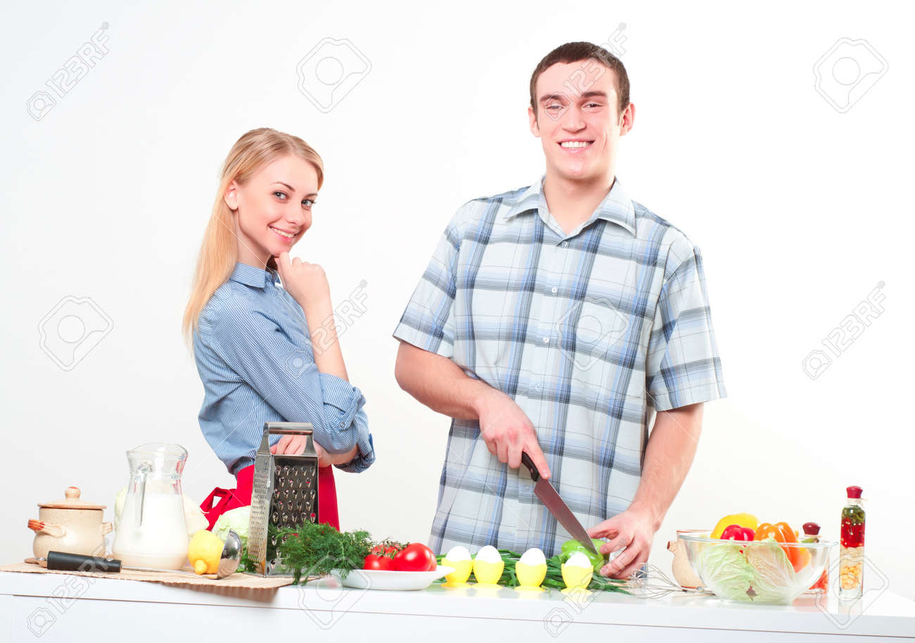 couple of cooking together, have fun time Stock Photo - 16519752