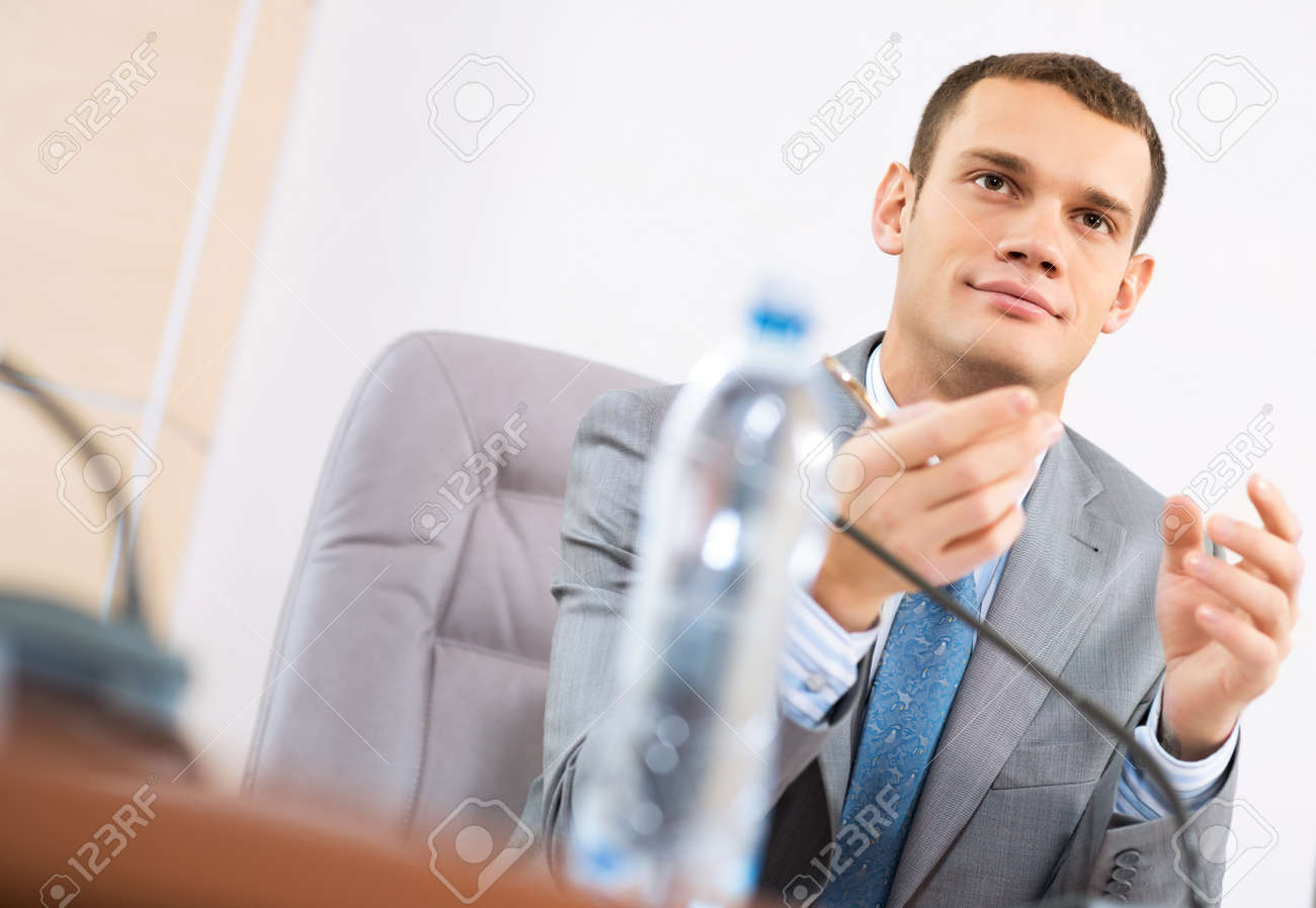 Portrait of a businessman, looking ahead, the source, the meeting Stock Photo - 16902479