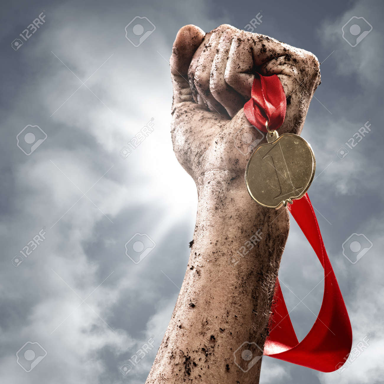 hand holding a winner s medal, success in competitions - 19287057