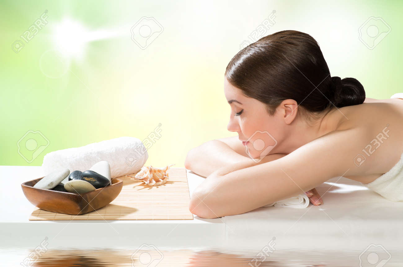 beautiful spa woman lying on the couch, gets pleasure Stock Photo - 20990849