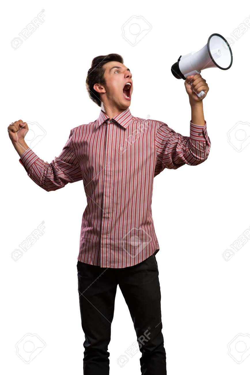 Portrait of a young man shouting using megaphone, isolated on white Stock Photo - 24132661