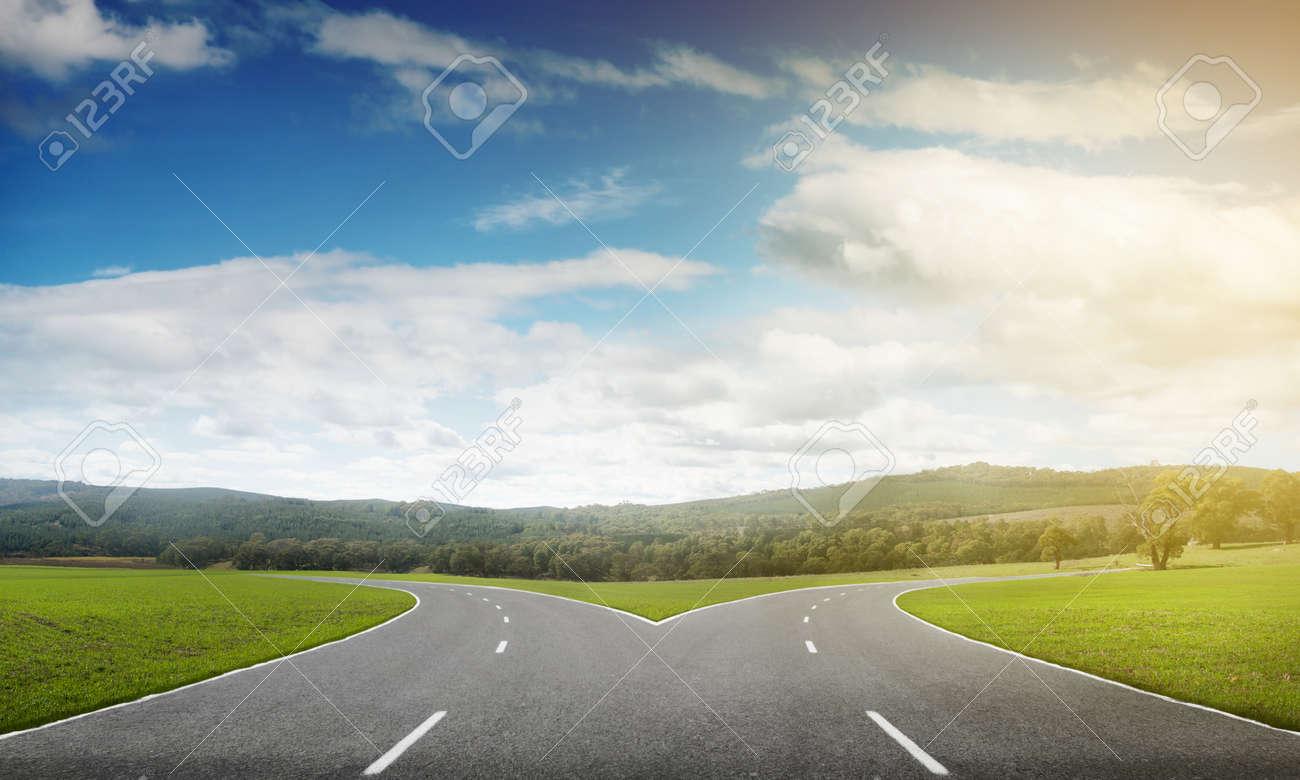 Natural landscape image of forked asphalt road - 50045807