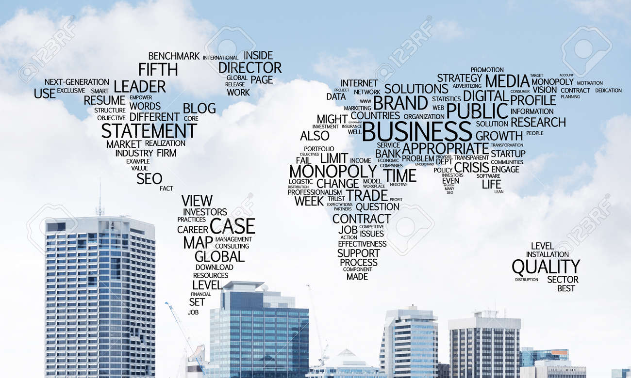 Business-related terms collage in form of world map with modern.. on learn world map, power world map, production world map, people world map, use world map, textbook world map, ideology world map, school world map, excel dashboard world map, race world map, prayer world map, principle world map, culture world map, nature world map, game world map, time world map, love world map, policy world map, change world map, life world map,