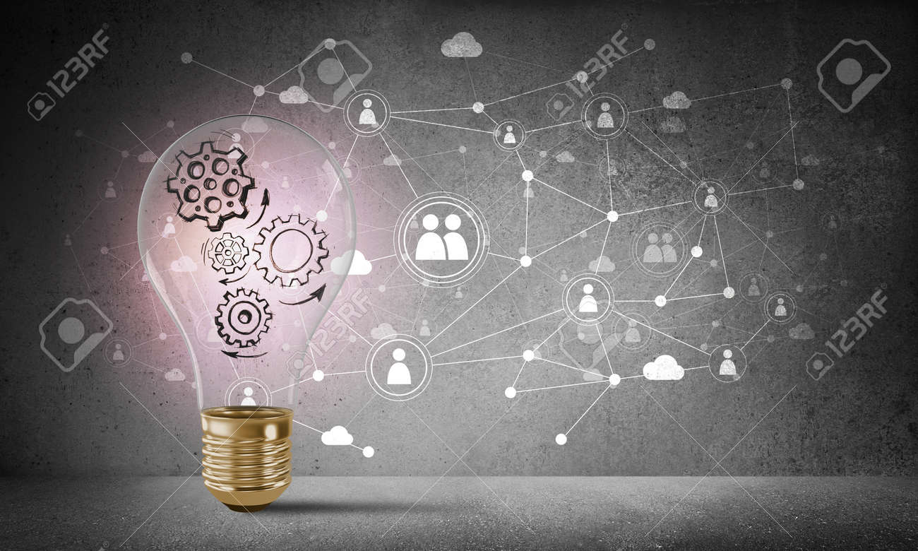 Lightbulb with multiple sketched gears inside placed against social network system drawn on grey wall. 3D rendering. - 87112837