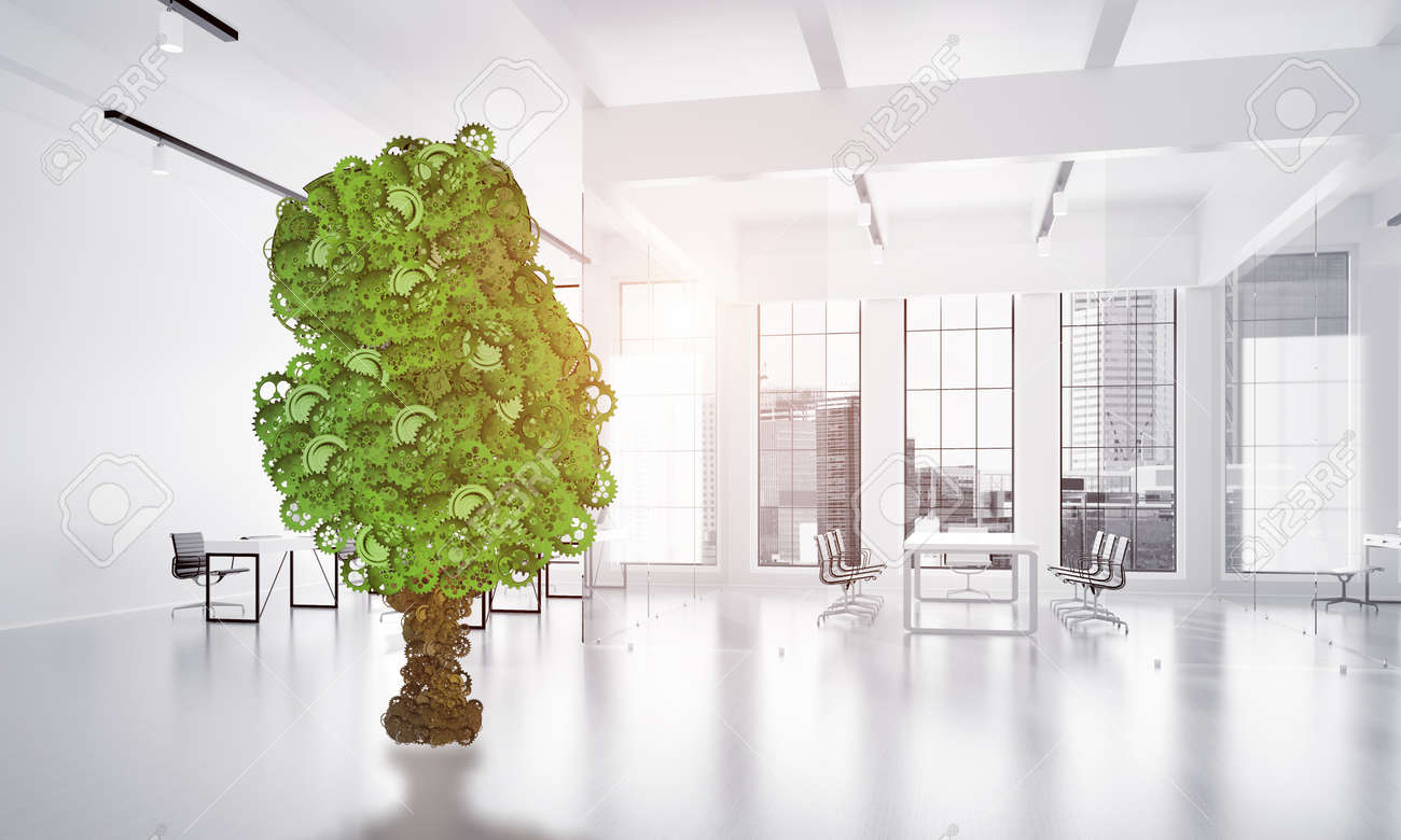 office tree. Green Tree Made Of Gears And Cogwheels On White Office Background. 3d Rendering Stock Photo