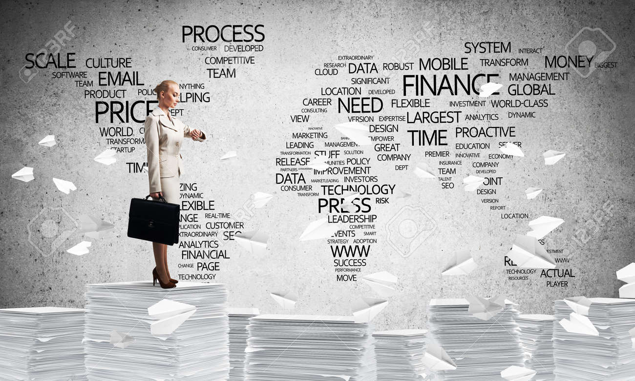 Business woman in suit standing among flying paper planes with business woman in suit standing among flying paper planes with business related terms in form gumiabroncs Choice Image