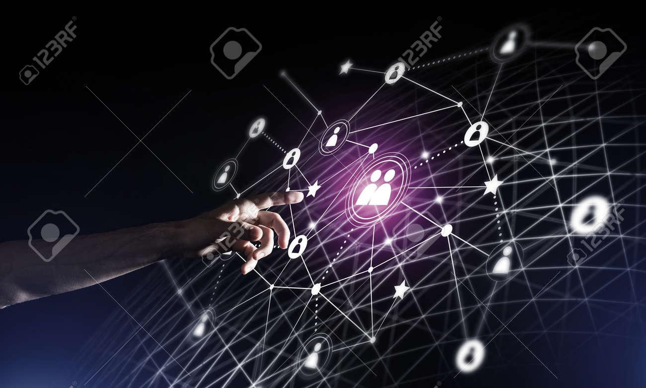 Background conceptual image with social connection lines on dark backdrop - 128224434