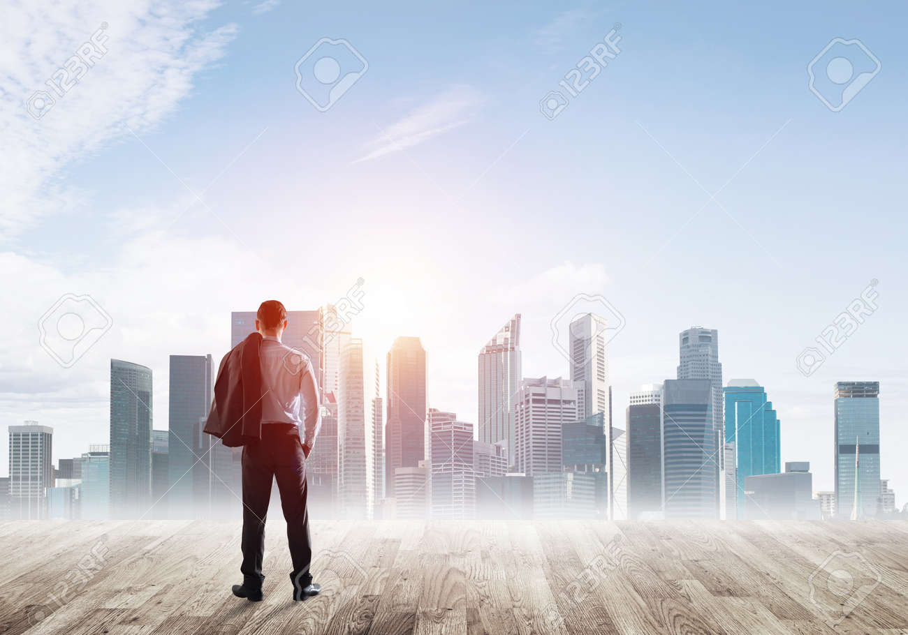 Businessman standing with back and looking at business cityscape - 158431087