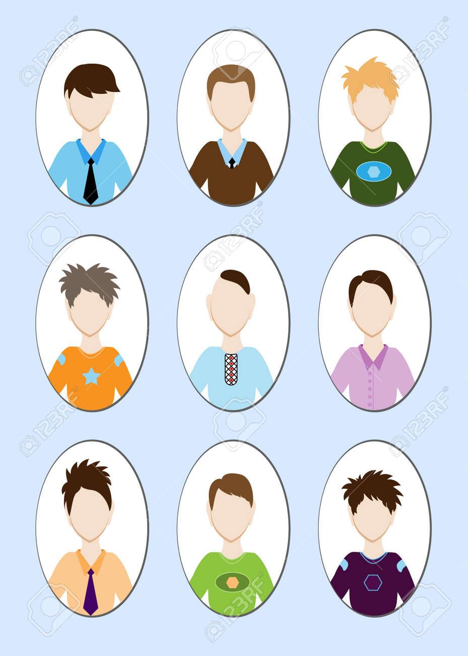 様々 なヘアスタイルでハンサムな若い男の漫画イラスト。ベクトル図