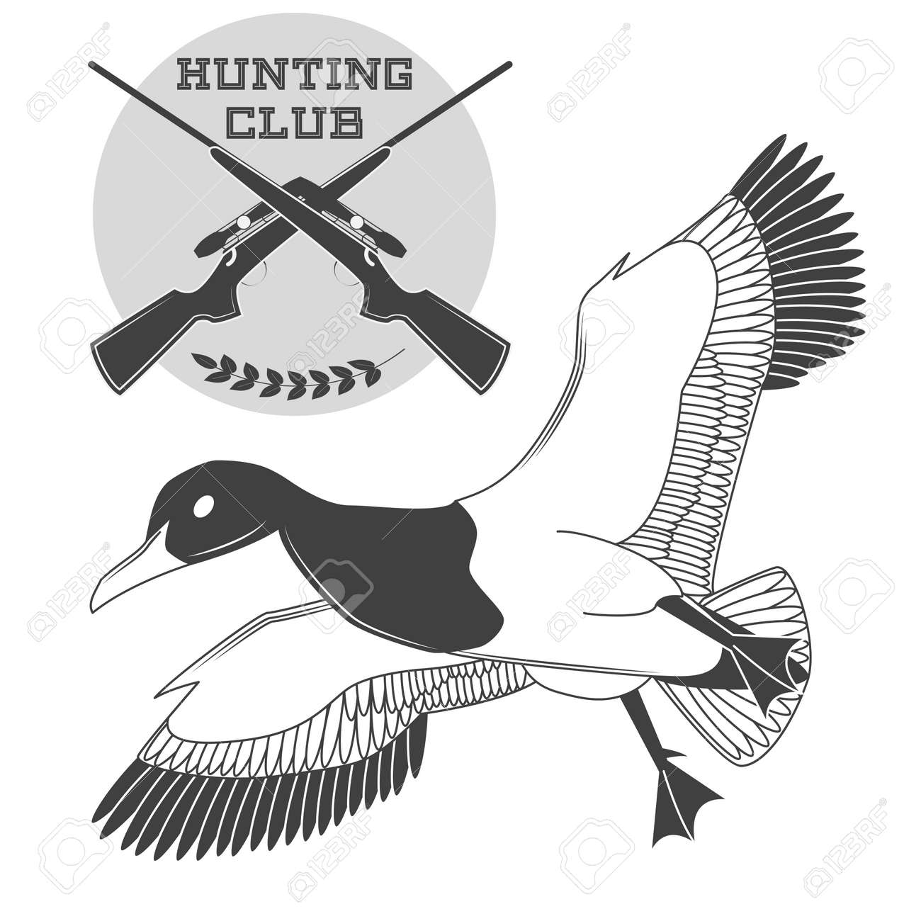 Vintage label with a duck, weapons for lucky hunting club  Vector