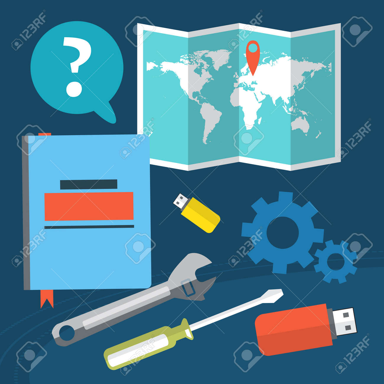 The concept of location settings questions and answers on the world map vector illustration the concept of location settings questions and answers on the flash memory and a notebook gumiabroncs Image collections