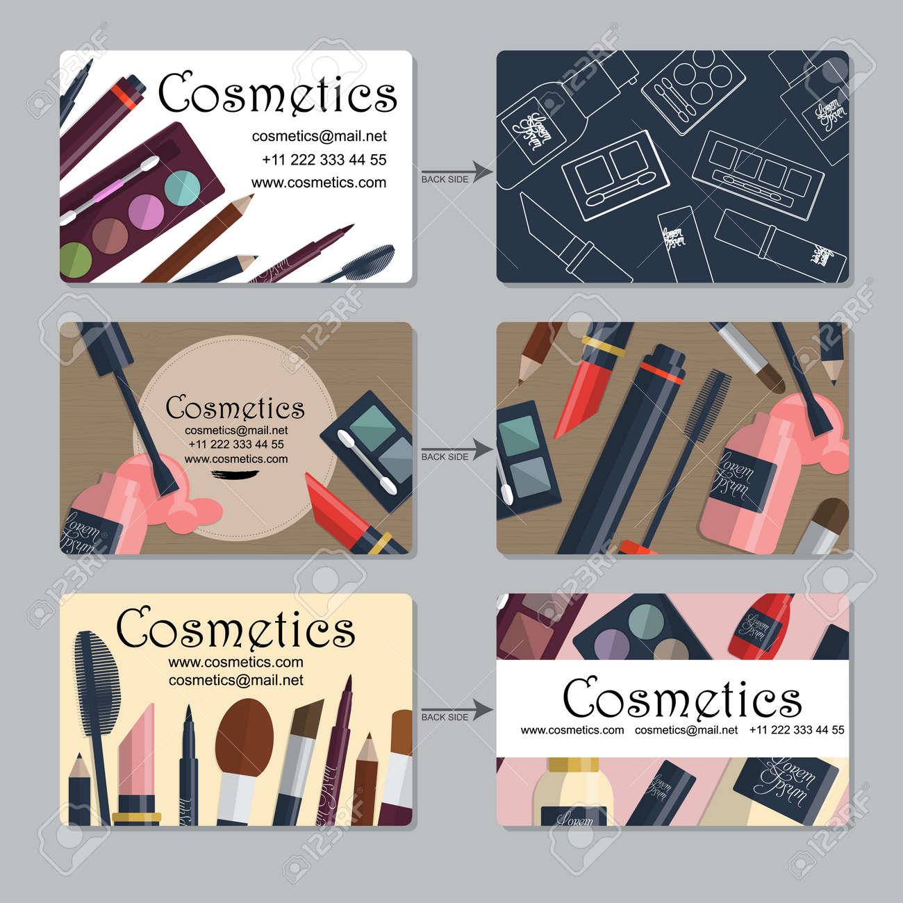 Carte De Visite Maquillage Ensemble Produits Cosmtiques Pour
